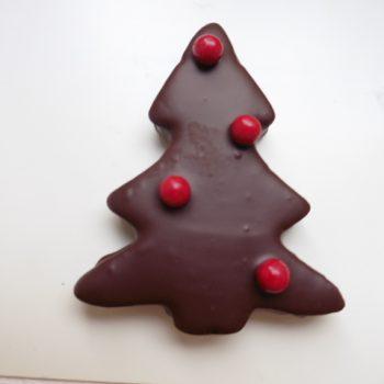 sapin guimauve chocolat /boule rouge